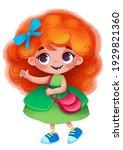 Cartoon Fairy Princess. Red...