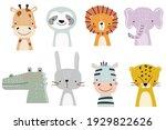 set of cute designer animals on ... | Shutterstock .eps vector #1929822626
