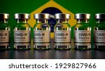 Covid Vaccine Bottle with the Brazil Flag in the Background Corona Vaccine Bottle in front of a Brazilian Flag Bandeira do Brasil
