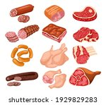meat products set. foods...   Shutterstock .eps vector #1929829283