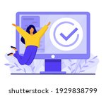 happy jumping girl and computer ... | Shutterstock .eps vector #1929838799