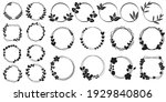 set of black circular foliate...   Shutterstock .eps vector #1929840806