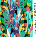 feather print multi colors... | Shutterstock . vector #1929867629