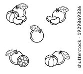 mandarin set. collection icons... | Shutterstock .eps vector #1929869336