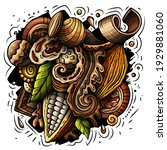 chocolate hand drawn vector... | Shutterstock .eps vector #1929881060