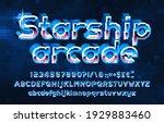 starship arcade alphabet font.... | Shutterstock .eps vector #1929883460