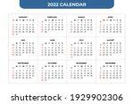 2022 basic calendar design... | Shutterstock .eps vector #1929902306