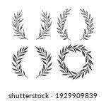 hand drawn floral wreaths set....   Shutterstock .eps vector #1929909839
