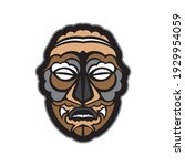 color tattoo mask in maori or... | Shutterstock .eps vector #1929954059