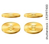 icons of gold coins | Shutterstock .eps vector #192997400