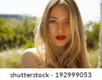 beautiful blonde female with...   Shutterstock . vector #192999053