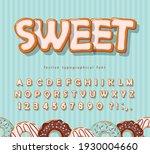 sweet cookie font. cartoon hand ... | Shutterstock .eps vector #1930004660