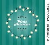christmas lights wreath frame ... | Shutterstock .eps vector #1930022516