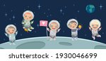 kids astronaut on moon. space... | Shutterstock . vector #1930046699