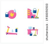cleaning services flat icons...