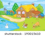 cute old farm with animals.... | Shutterstock . vector #193015610