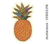 hand drawn pineapple cartoon... | Shutterstock .eps vector #193022198