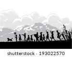kids playing on halloween night | Shutterstock .eps vector #193022570