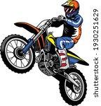 motocross rider jumping riding... | Shutterstock .eps vector #1930251629