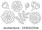 set of rose flower doodles | Shutterstock .eps vector #1930322546