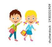 cute cartoon boy and girl go...   Shutterstock .eps vector #1930331909