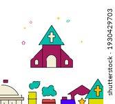 village church filled line icon ...