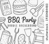 bbq doodle banner icon. food... | Shutterstock .eps vector #1930484483