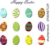happy easter. set of colorful... | Shutterstock .eps vector #1930487129