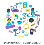 set of hand drawn elements and... | Shutterstock .eps vector #1930493870