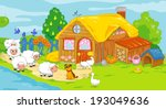 cute farm and animals. children ... | Shutterstock . vector #193049636