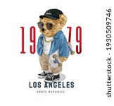 los angeles slogan with cute... | Shutterstock .eps vector #1930509746