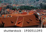 Top View To Red Roofs Skyline...