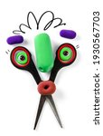 Small photo of Animated scissors with plasticine objects eyes and nose. Cartoon plasticine parts of face on thing. Illustration for kids hair salon