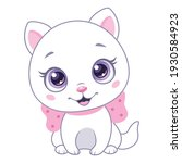 little white cat with pink bow...   Shutterstock .eps vector #1930584923