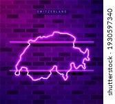 switzerland map glowing neon... | Shutterstock . vector #1930597340