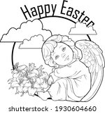 angelic beings with bouquet of...   Shutterstock .eps vector #1930604660
