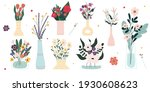 set of bright spring blooming...   Shutterstock .eps vector #1930608623