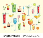 tropical cocktails cups drinks...   Shutterstock .eps vector #1930612673