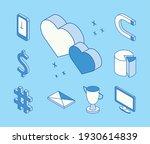 ten isometric social media icons | Shutterstock .eps vector #1930614839