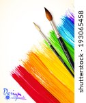 acrylic painted rainbow with... | Shutterstock .eps vector #193065458