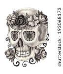 art skull day of the dead. hand ...   Shutterstock . vector #193068173