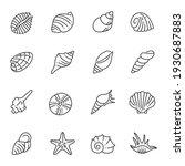 set of monochrome contour sea... | Shutterstock .eps vector #1930687883