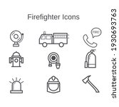 Firefighter Icons Set Isolated...