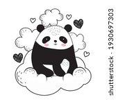 panda on cloud cartoon sketch | Shutterstock .eps vector #1930697303