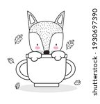fox on cup floral sketch | Shutterstock .eps vector #1930697390