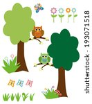 vector trees  owls  flowers and ... | Shutterstock .eps vector #193071518