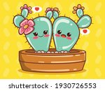 cute cactus couple cartoon... | Shutterstock .eps vector #1930726553