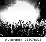 crowd at a concert with hands up | Shutterstock . vector #193078028