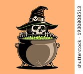skeleton witch preparing a... | Shutterstock . vector #1930808513
