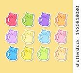 cute gummy cat jelly stickers...   Shutterstock .eps vector #1930818080